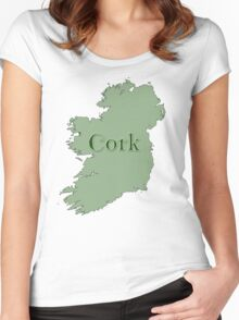 Cork Ireland with Map of Ireland Women's Fitted Scoop T-Shirt