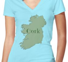 Cork Ireland with Map of Ireland Women's Fitted V-Neck T-Shirt
