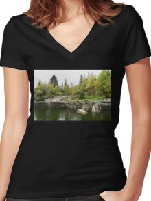 Overgrown and Wild - Fading Autumn Beauty Women's Fitted V-Neck T-Shirt