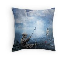 Fishing when the moon is full Throw Pillow