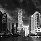 City - Chicago IL - Trump Tower BW by Mike  Savad