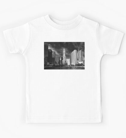 City - Chicago IL - Trump Tower BW Kids Tee