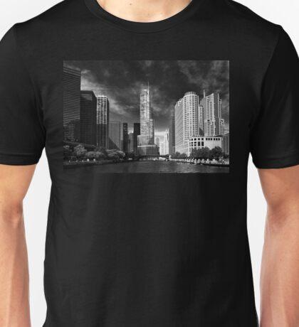 City - Chicago IL - Trump Tower BW Unisex T-Shirt