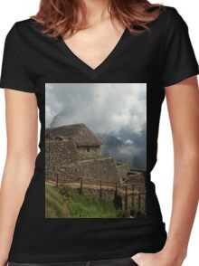 machu picchu photograph Women's Fitted V-Neck T-Shirt