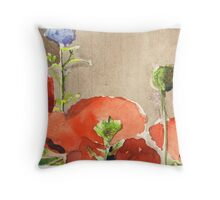 Poppies Close-Up Throw Pillow