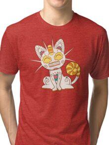 Meowth Pokemuerto | Pokemon & Day of The Dead Mashup Tri-blend T-Shirt