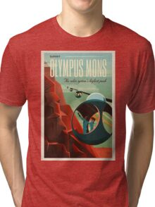 THE VOLCANO OF MARS - Olympus Mons | Space | X | Retro | Vintage | Futurism | Sci-Fi Tri-blend T-Shirt