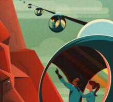 THE VOLCANO OF MARS - Olympus Mons   Space   X   Retro   Vintage   Futurism   Sci-Fi Sticker