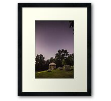 Clear starry night sky at Evans City Cemetery Chapel home of Night of the Living Dead Framed Print