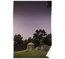 Clear starry night sky at Evans City Cemetery Chapel home of Night of the Living Dead 0375-A Poster
