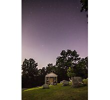 Clear starry night sky at Evans City Cemetery Chapel home of Night of the Living Dead 0375-A Photographic Print
