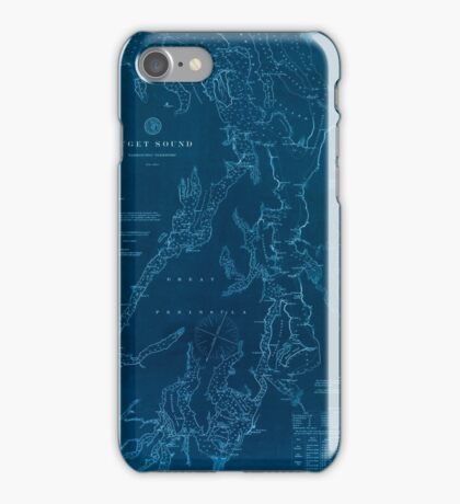 Civil War Maps 1495 Puget Sound Washington Territory Inverted iPhone Case/Skin