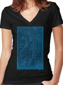 Civil War Maps 1495 Puget Sound Washington Territory Inverted Women's Fitted V-Neck T-Shirt