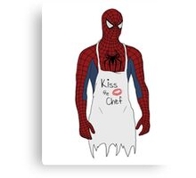 Kiss the Spidey Chef Canvas Print