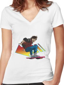 Hoverboard Marty Women's Fitted V-Neck T-Shirt
