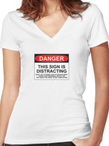 DISTRACTING SIGN Women's Fitted V-Neck T-Shirt