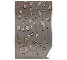 Water droplets on old steel plate Poster