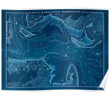 Civil War Maps 0683 Map of Charleston Harbor SC Inverted Poster