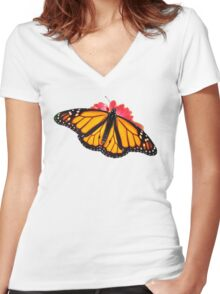Monarch Butterfly Women's Fitted V-Neck T-Shirt