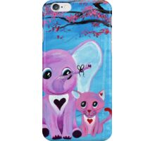 Cute Pink Elephant Cat Cherry Blossom Art iPhone Case/Skin