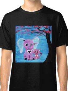 Cute Pink Elephant Cat Cherry Blossom Art Classic T-Shirt
