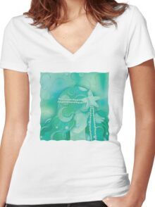 Aqua Mermaid Women's Fitted V-Neck T-Shirt