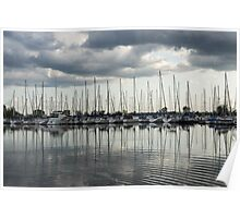 Ripples and Reflections - Ominous Gray Clouds at a Marina Poster