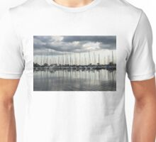Ripples and Reflections - Ominous Gray Clouds at a Marina Unisex T-Shirt