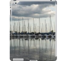 Ripples and Reflections - Ominous Gray Clouds at a Marina iPad Case/Skin