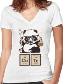 Chemistry panda discovered cute Women's Fitted V-Neck T-Shirt