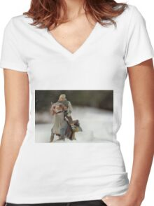 Is Hoth in Iowa?  Women's Fitted V-Neck T-Shirt