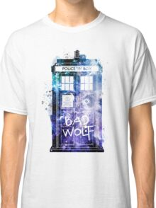 Doctor Who Tardis Bad Wolf Watercolor Classic T-Shirt