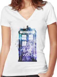 Doctor Who Tardis Bad Wolf Watercolor Women's Fitted V-Neck T-Shirt