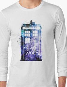 Doctor Who Tardis Bad Wolf Watercolor Long Sleeve T-Shirt