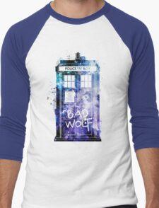 Doctor Who Tardis Bad Wolf Watercolor Men's Baseball ¾ T-Shirt
