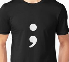 Semicolon; White Unisex T-Shirt
