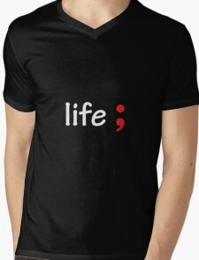 Semicolon; Life Mens V-Neck T-Shirt