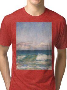 Flynns Beach clouds & waves Tri-blend T-Shirt