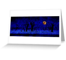 Under the Full Moon, the Dead Trees Dance (in Blue) Greeting Card
