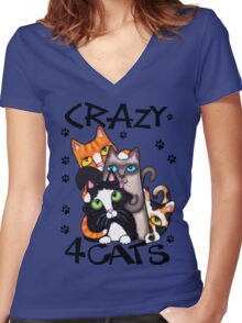 Crazy Cat Lovers Kitty Art Women's Fitted V-Neck T-Shirt