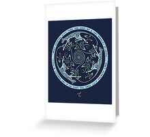 Feline Triskele (Blue) Greeting Card