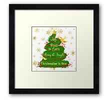Christmas Tree sentiment art, golden snowflakes Framed Print