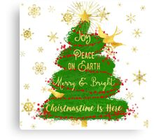 Christmas Tree sentiment art, golden snowflakes Canvas Print