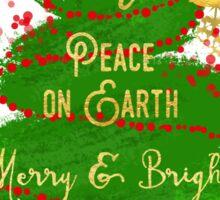 Christmas Tree sentiment art, golden snowflakes Sticker