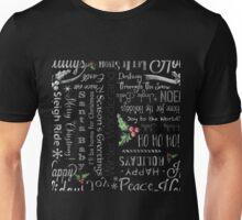Christmas holiday chalkboard text art Unisex T-Shirt