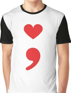Semicolon; Heart Red Graphic T-Shirt