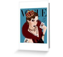 Flapper Queen of Hearts ( blue version) Greeting Card