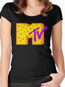 MTV Cheese Logo Women's Fitted Scoop T-Shirt