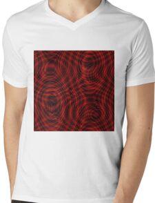 exotic lines on red Mens V-Neck T-Shirt