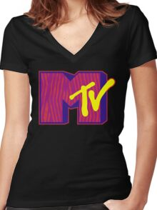 MTV Logo Women's Fitted V-Neck T-Shirt